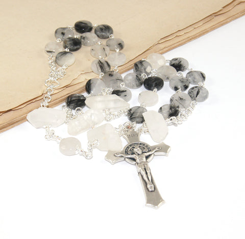 Anglican Saint Benedict Rosary, Crystal Quartz Christian Prayer Beads