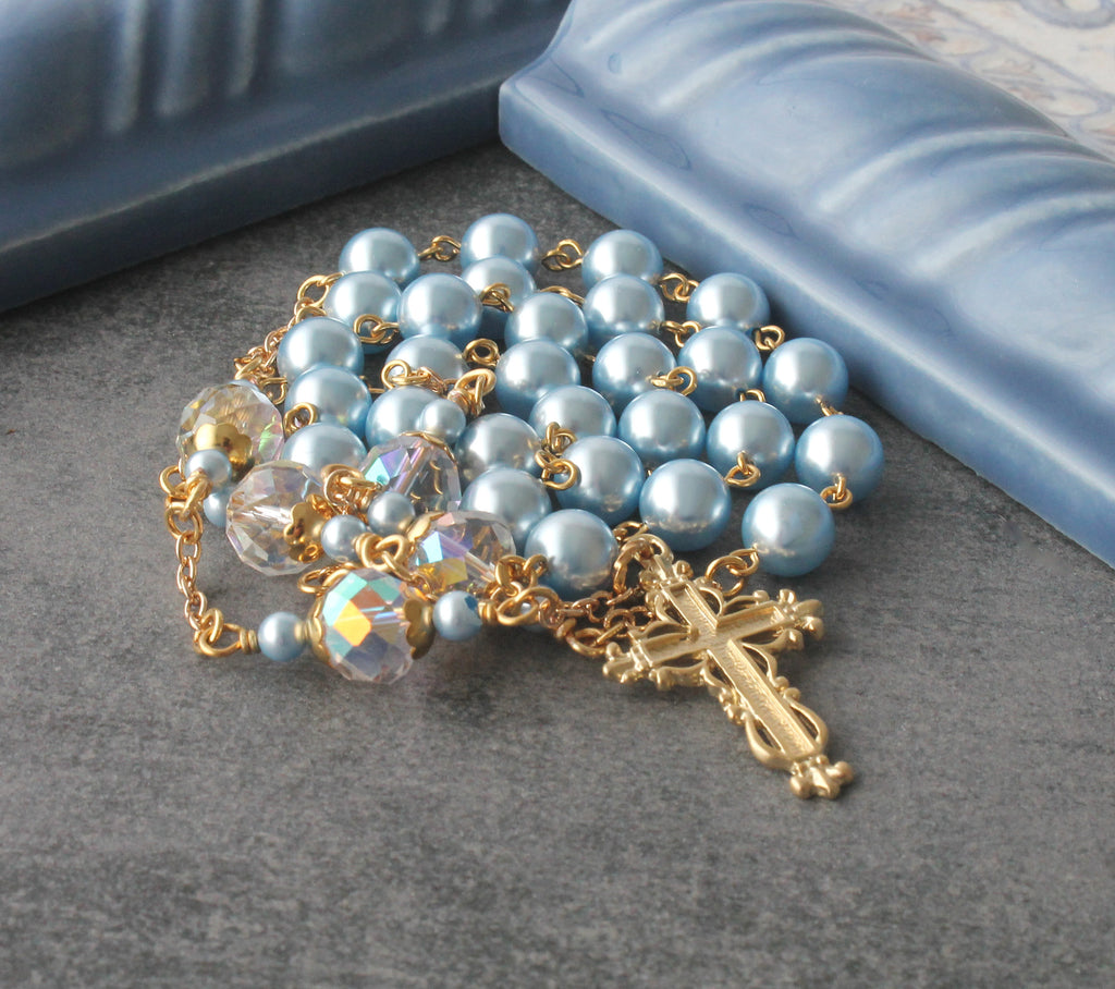 Swarovski Pearl Anglican rosary necklace gold cross, handmade in New Zealand