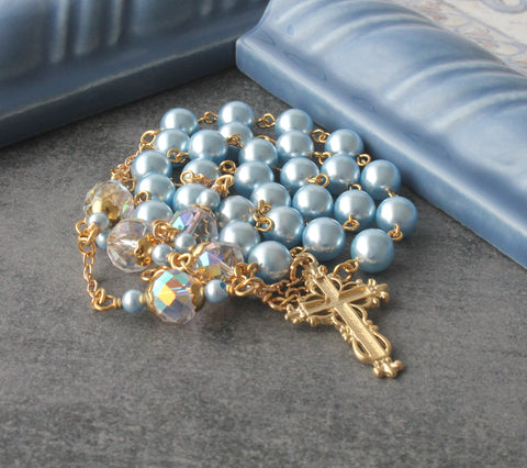 Anglican Rosary, Blue Swarovski Pearls, Gold Cross