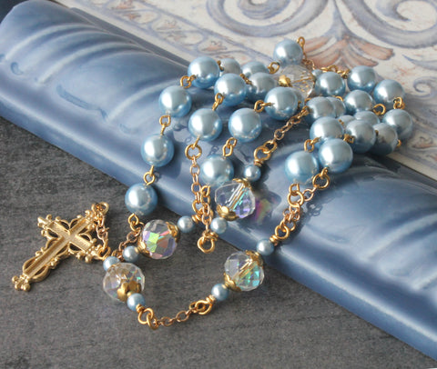 Christian wedding rosary, blue pearls, gold linked, Anglican bride