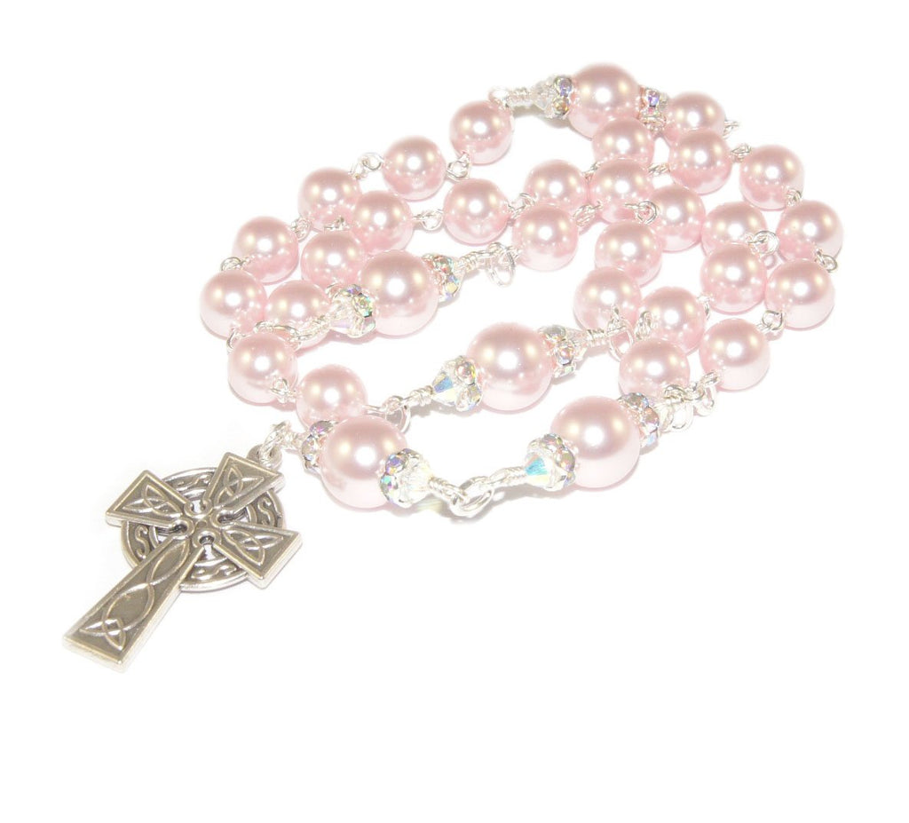 Pink Pearl Anglican rosary, Celtic cross, New Zealand made
