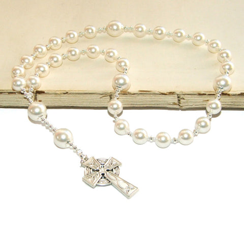 Anglican Prayer Beads, White Pearl Christian Rosary