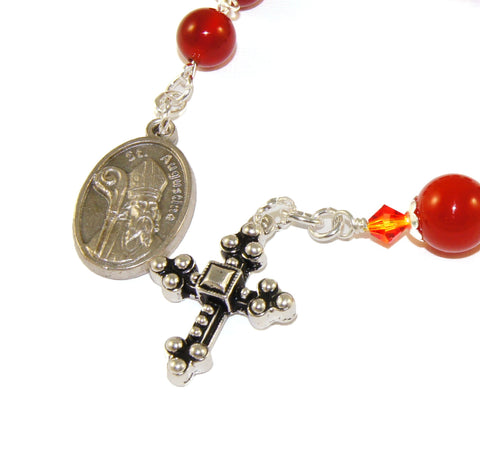 Chaplet of St Augustine, Anglican Christian pocket rosary, red beads