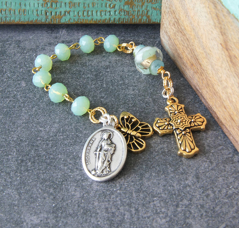 Saint Dymphna Christian pocket rosary handmade in New Zealand