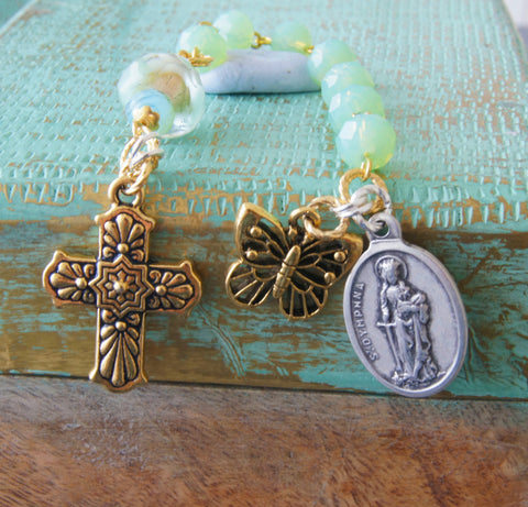 St Dymphna Christian Pocket Rosary, Patron Saint of Domestic Violence & Mental Stress