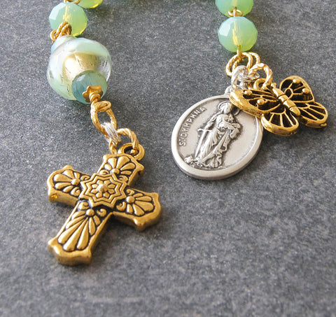 St Dymphna chaplet, green crystal beads, gold cross, healing saint