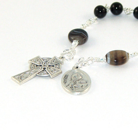Black agate chaplet rosary, Peter and Paul