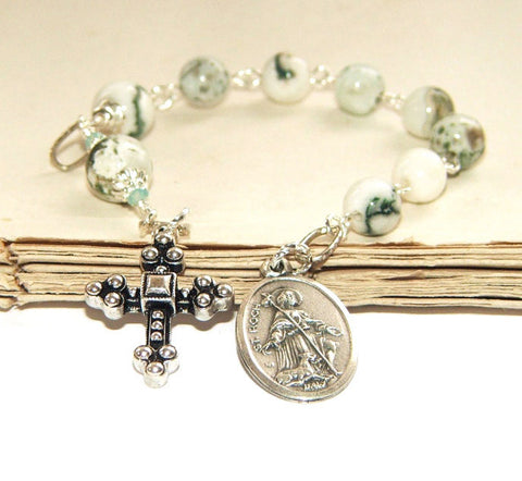 Anglican Chaplet of St Roch (Rocco), Jasper Beads / Christian Saint Prayer Beads