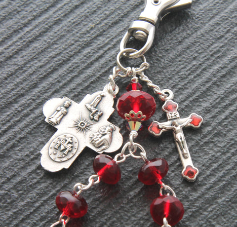 Travel Rosary Clip, 5-Way Catholic Medal