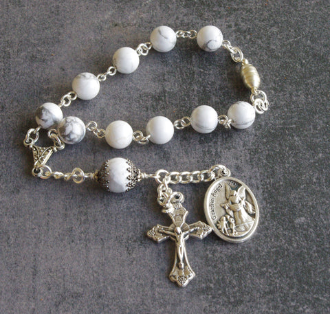 Travel Rosary, Car Rear View Mirror Rosary / Saint Michael & Guardian Angel