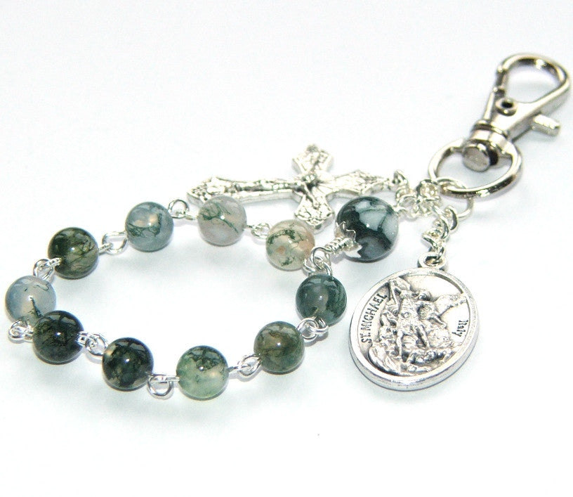 Travel rosary clip, gemstone beads with Guardian Angel