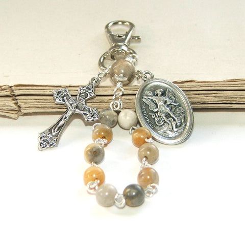 Travel Rosary with Clip, Saint Michael Medal