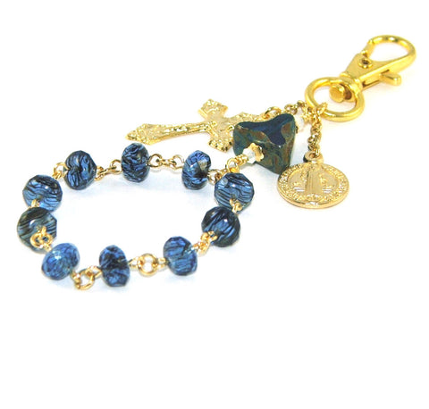 Travel Rosary, Saint Benedict Medal, Gold Steel Clip