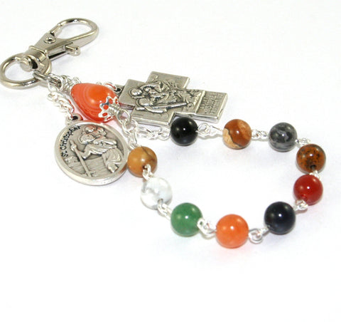 St Christopher Cross & Guardian Angel Travel Rosary