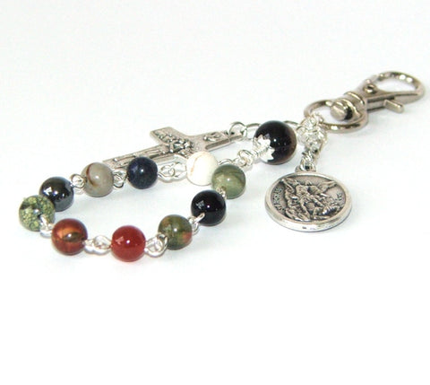 Clip on St Michael & Guardian Angel Travel Rosary, Keychain or Lanyard Clip