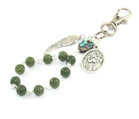 Greenstone and paua shell rosary farewell gift
