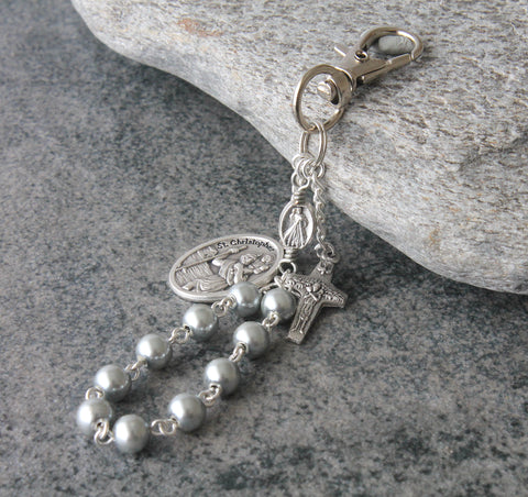St Christopher Clip-On Travel Rosary, Silver Hematite