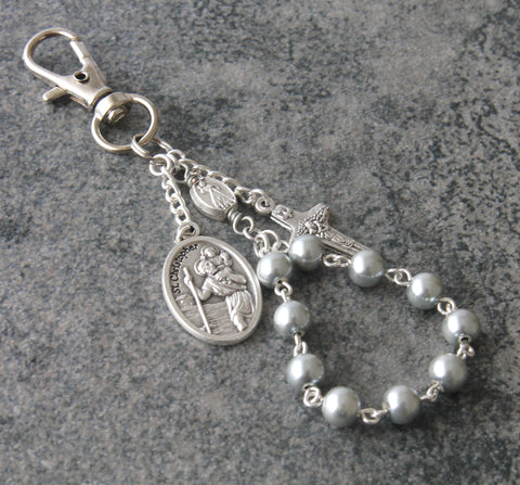Clip on travel rosary, Saint Christopher medal