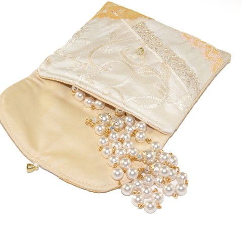 Wedding Pouch, Silk Lace & Pearls Embellished Patchwork Rosary Bag