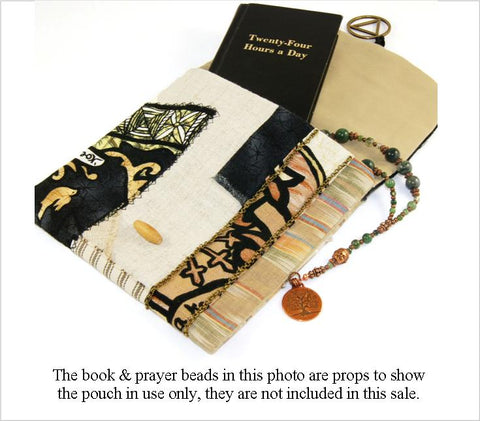 Recovery Patchwork Pouch for your 12 Step Prayer Beads, Cards or Booklets