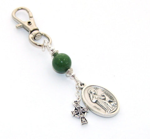 St Francis & St Anthony Medal Clip, Greenstone & Celtic Cross