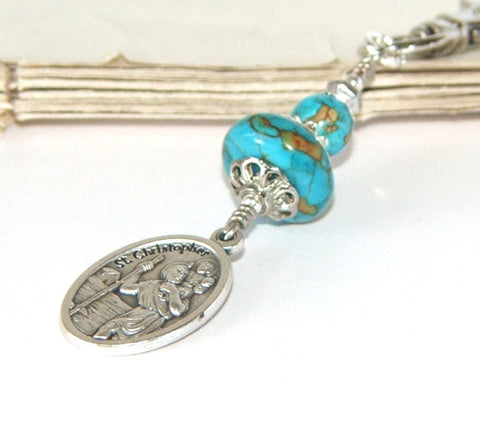 St Christopher Clip - Bag Charm - Travel Medal