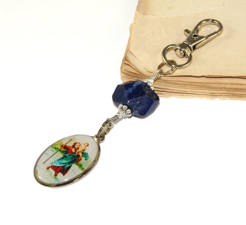St Christopher Travel Clip, Lapis Gemstone Nugget
