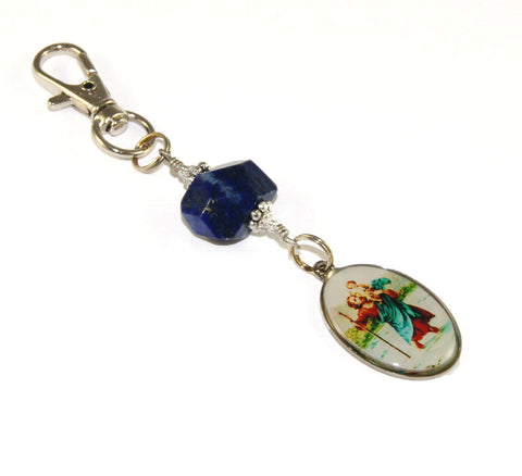 Gemstone keychain, St Christopher medal, safe travel clip