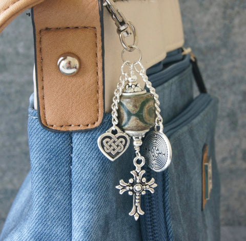 Cross, Labyrinth, Heart - Christian Bag Charm or Keychain Farewell Gift