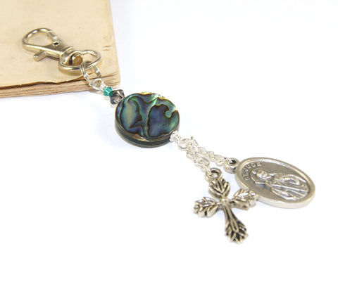 St Jude Medal & Paua Clip, Keychain or Bag Dangle Accessory