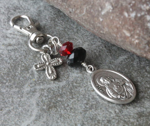 Sacred Heart & Guardian Angel Medal Clip, Keychain, Bag Charm