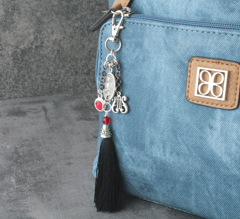 St Cecilia Bag Charm, Personalized Birthstone, Patron Saint of Music