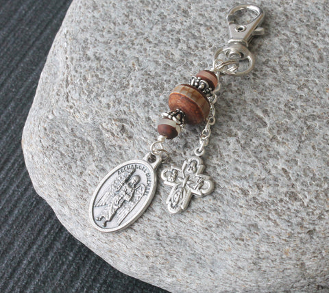 St Michael Medal Clip, Keychain or Bag Dangle - Agate Beads