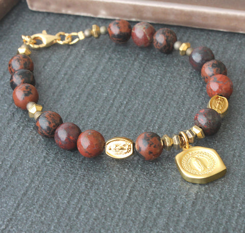 Virgin Mary Bracelet, Natural Jasper with Gold