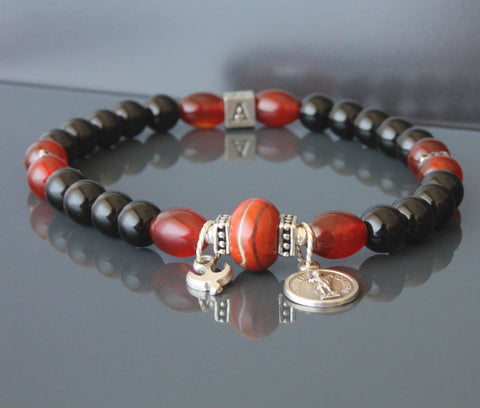 St Michael Gemstone Bead Bracelet, Unisex, Plus Sizes Available