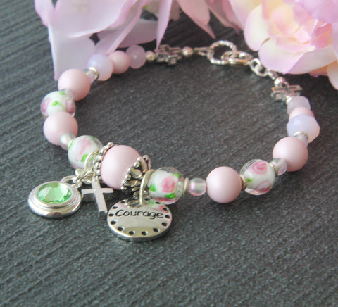 Pink Pearls & Roses, Courage Bracelet, Birthstone Charm