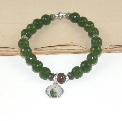 New Zealand handmade greenstone jade patron saint jewelry