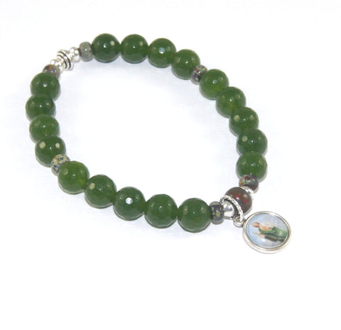 Saint Jude stretch bracelet, greenstone jade