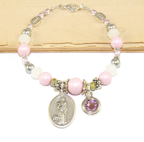 St Agatha Bracelet, Personalized Birthstone, Pink Pearls & Crystals, Plus Size Available