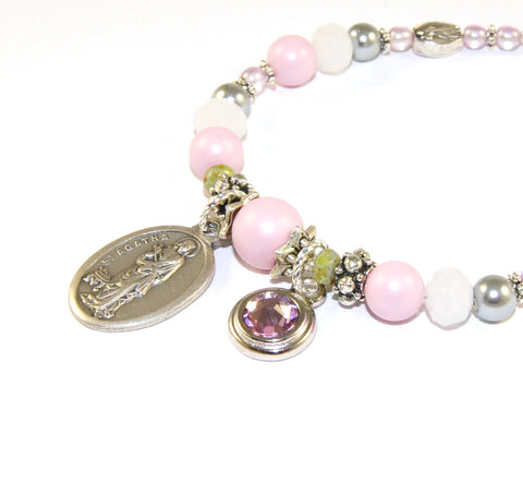 New Zealand Catholic jewelry, St Agatha bracelet
