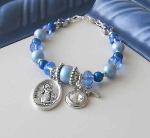 St Bernadette & Our Lady of Lourdes Bracelet, Birthstone Charm Choice