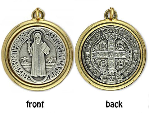 St Benedict Medal, 2.25m round, High Quality Pendant