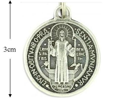 St Benedict Medal, Large Round Pewter Medal