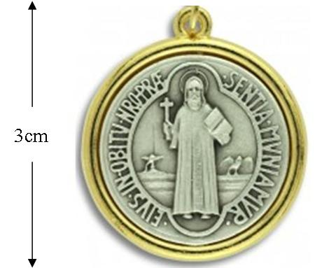 St Benedict Deluxe Medal, 2-Tone Gold & Silver