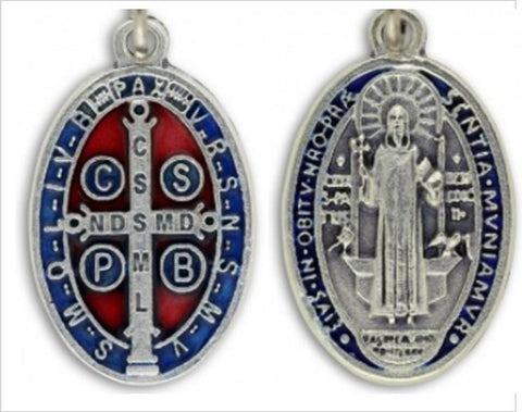 St Benedict Medal, Red & Blue Accents