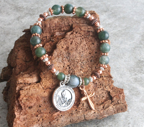 Patrn saint bracelet, stretch, NZ Catholic shop