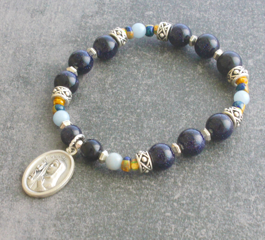Saint Clare chaplet prayer bracelet, roll on