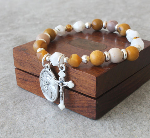 St Anthony Chaplet Bracelet, Wearable Prayer Beads