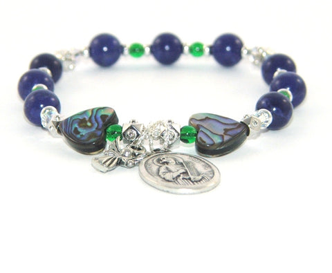 Jade and paua Catholic saint bracelet