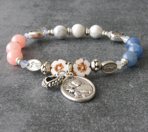 Saint Gerard chaplet prayer bracelet, handmade stretch